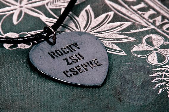 Personalized guitar pick necklace, Our personalized copper guitar picks can be etched with any name or message.  This personalized gifts, is cool and
