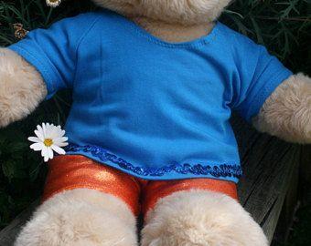 Bear Outfit Blue top bright orange pants