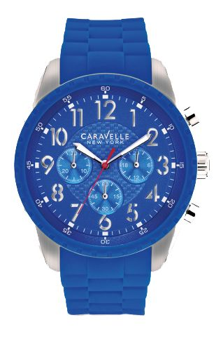 Gent's steel Caravelle NY watch with a blue silicone band, blue dial and chronograph feature - $110.00 #PoagWishList