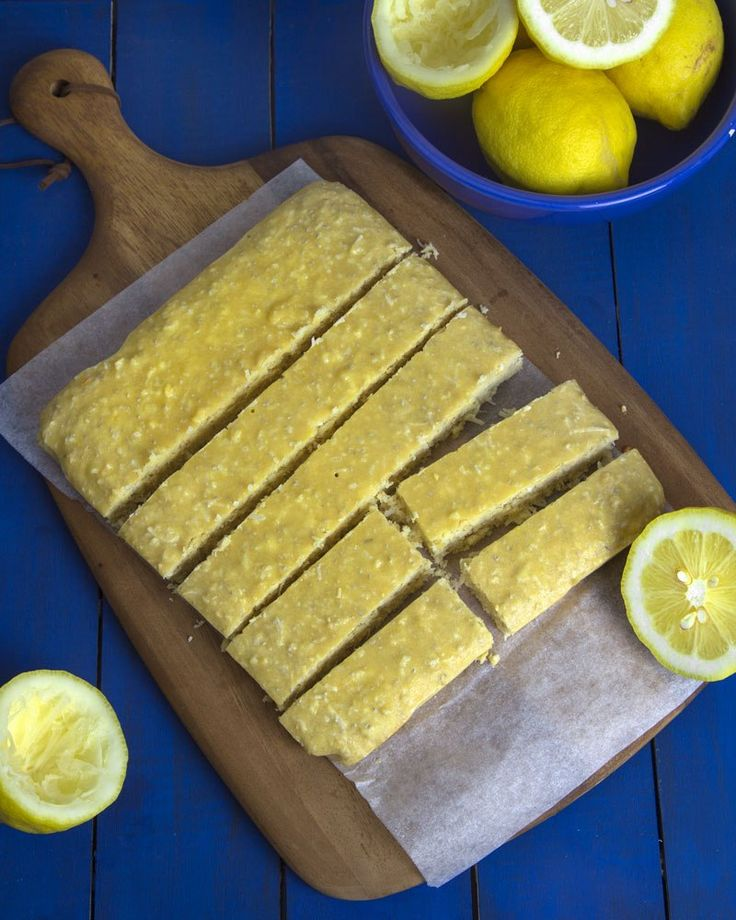 Pucker Up Lemon Protein Bars @OmNomAlly - Serves: 10. Nutrition: 225 calories, 13 g fat, 5 g sat fat, 17 g carbs, 7 g fiber, 7 g sugar, 12 g protein