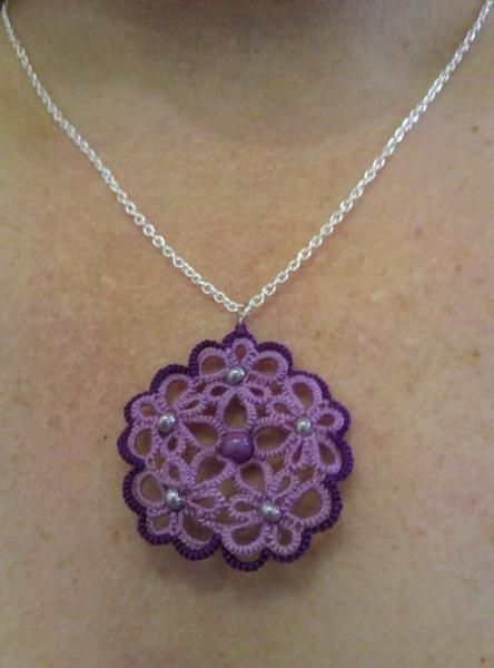 Don't have any idea how to do this but I bet @Rebekah Bowers can help me make one!   Tatted pendant