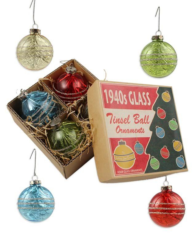 1940's Tinsel Ball Ornament With Box