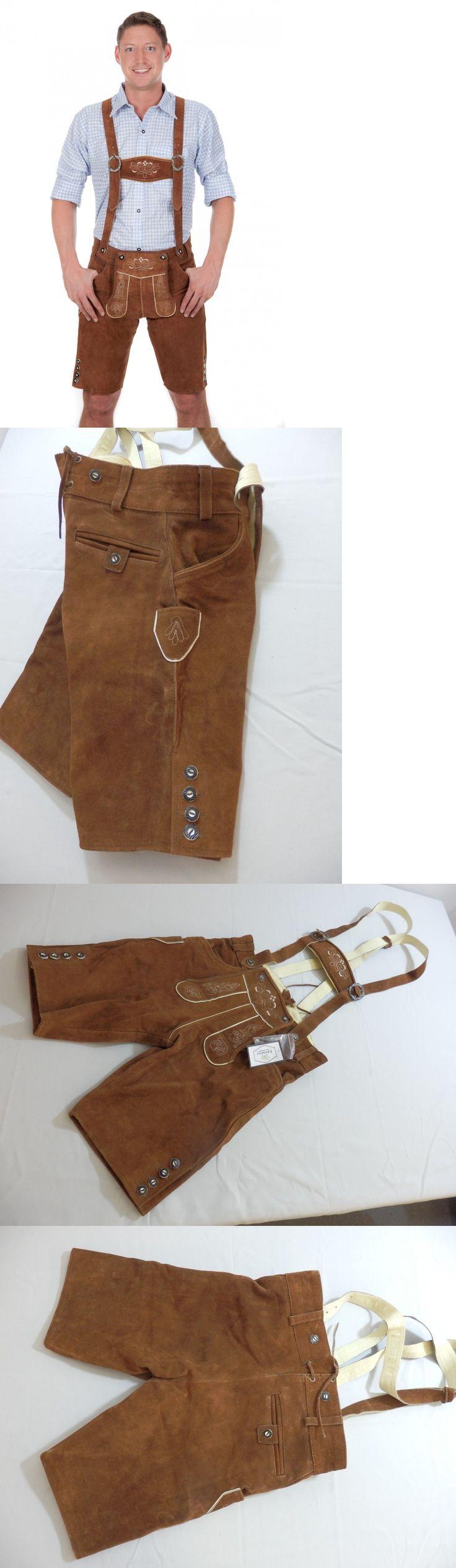 Lederhosen 163144: Edelnice Trachtenmode Short Braid Lederhose Trousers Chestnut Brown Nwt 46 -> BUY IT NOW ONLY: $69 on eBay!