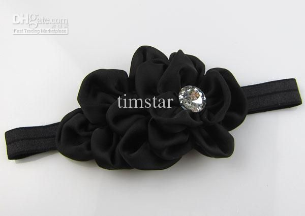 Baby Girls flower Headband for Photography props Fabric Satin Flower Headbands with Acryl diamond