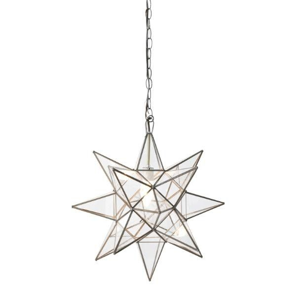 "This charming star chandelier features clear glass and measures 15"" in diameter. Features a Moravian star pendant. Has a single socket for a 60 watt max bulb. Comes with 3 feet of antique brass chain and canopy. Click on images for greater detail.Designers, please join our trade program for trade discounts on this item."