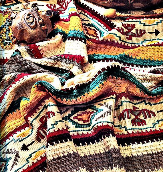 Crochet Blanket Pattern Indian Summer Afghan by PearlShoreCat