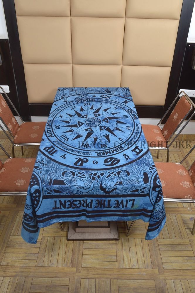 Table Cover Blue Color Compass Cycle of Ages Printed Indian Cotton Dinning IWUS
