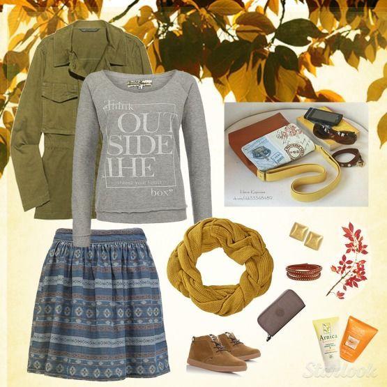 """Осенний образ в стиле casual сумочка """"Винтажные открытки"""""""