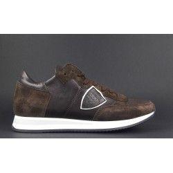 adb2ab76dd Philippe Model / Sneakers Uomo Tropez Camoscio Pelle Tela Marrone ...