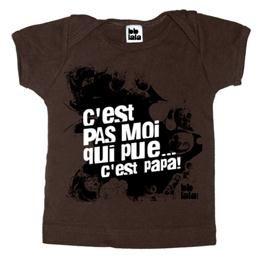 Chandail manches courtes brun C'est pas moi qui pue, c'est papa! 3-6 mois #concours #merehelene