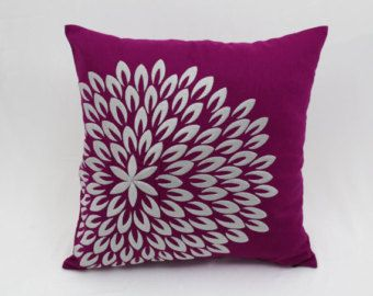 Purple Pillow Cover Dots embroidery pillow Modern by KainKain