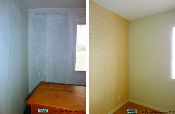 Dépose de lu0027ancien papier-peint et préparation des murs pour pose de - peinture pour plafond fissure