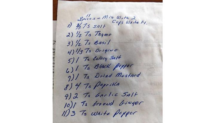 The long secret KFC spice recipe. The handwritten list of 11 herbs and spices, jotted down on the back of a document Joe Ledington described as the will for Claudia Sanders, the Colonel's second wife. (Jay Jones / Chicago Tribune)