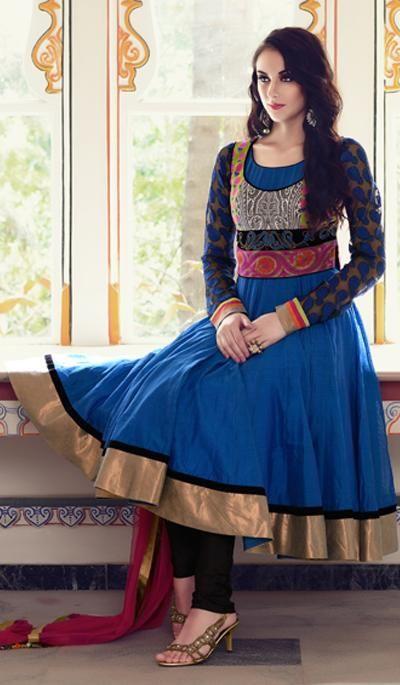 G3 Fashions Royal Blue Cotton Wedding Wear Designer Salwar Suit  Product Code : G3-LSA104319 Price : INR RS 6552
