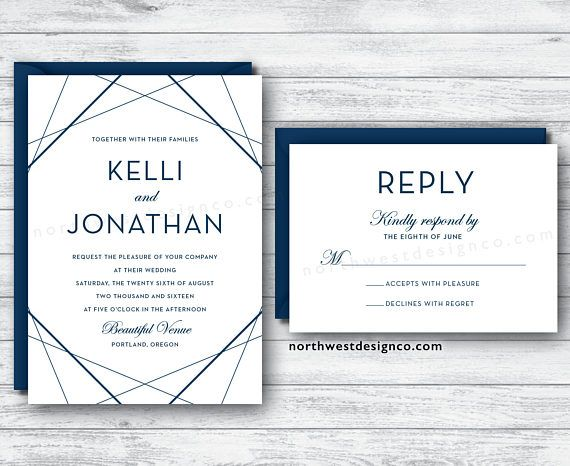 Modern Navy Wedding Invitation and Reply Card Set Blue