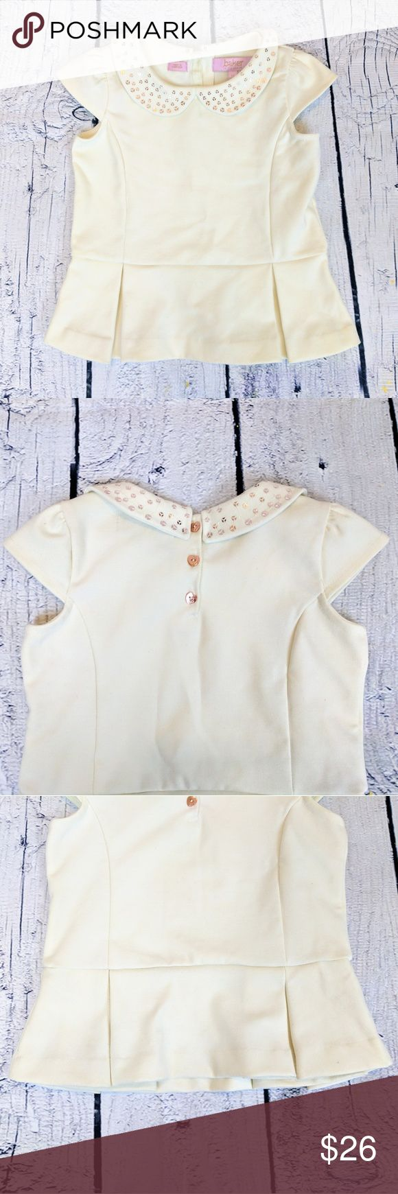 BAKER BY TED BAKER   box pleat peplum top Pretty little box pleat peplum top with cap sleeves for girls from BAKER by Ted Baker. Rose gold heart shaped buttons on back, rose gold sequin detail around Peter pan collar. Size 4Y. Baker by Ted Baker Shirts & Tops Blouses