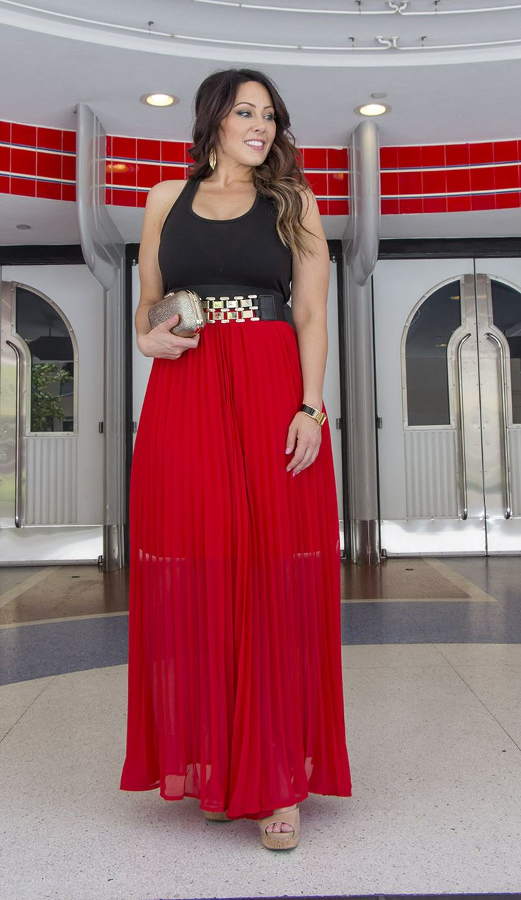Perfect curvy girl red and black belted dress