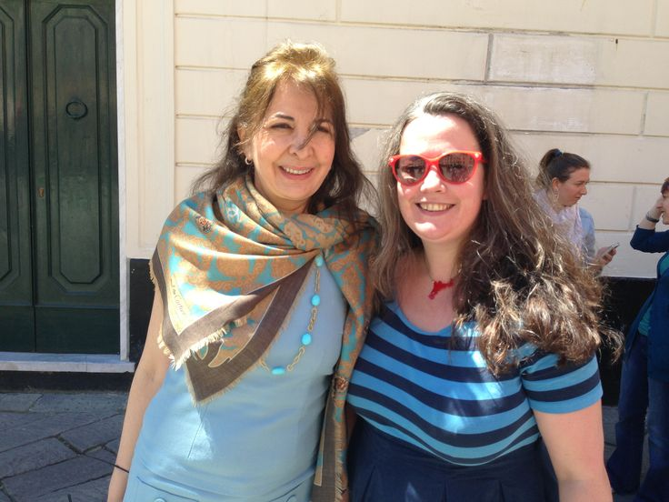 """Alessandra Segre welcoming Niamh Shields along the Italian Western Riviera.  According to """"The Sunday Times"""" Niamh is one of Britain's 500 most influential people about food & travel: visit her blog: """"Eat like a girl"""""""