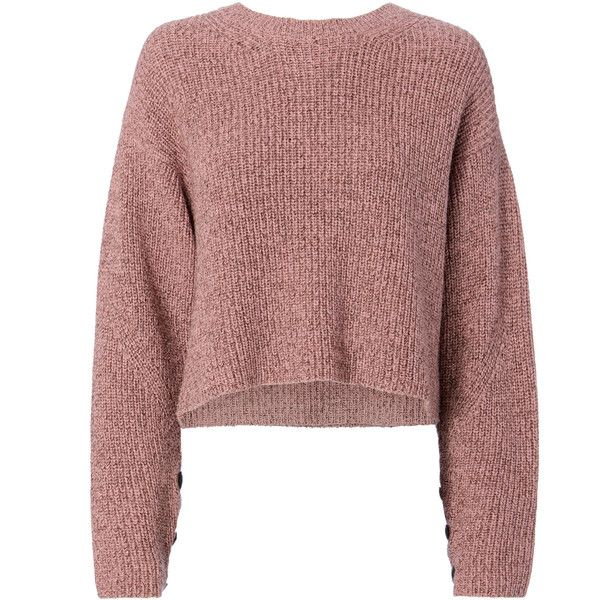 Rag & Bone Jubilee Lurex Cropped Sweater (955 PEN) ❤ liked on Polyvore featuring tops, sweaters, pink, cut-out crop tops, rag bone sweater, metallic top, pink cropped sweater and metallic sweater