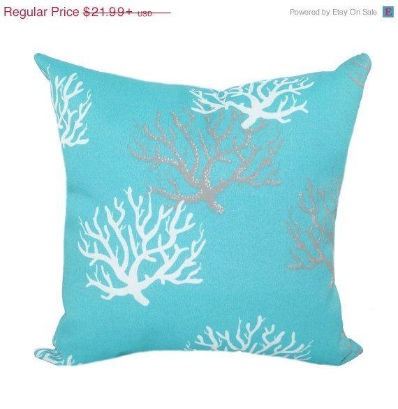 Back 2 School Sale Premier Prints Isadella Ocean Decorative Outdoor Pillow - Aqua Blue Coral Frag Floral Throw Pillow - Free Shipping
