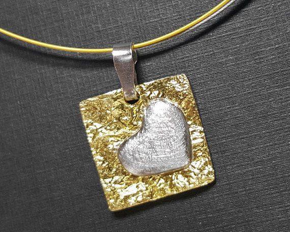 Heart choker necklace made from brass and sterling silver 925 with a mat finish.  This heart pendant necklace comes to you with a double cable wire in silver and gold color. https://www.etsy.com/shop/ZaloJewelry