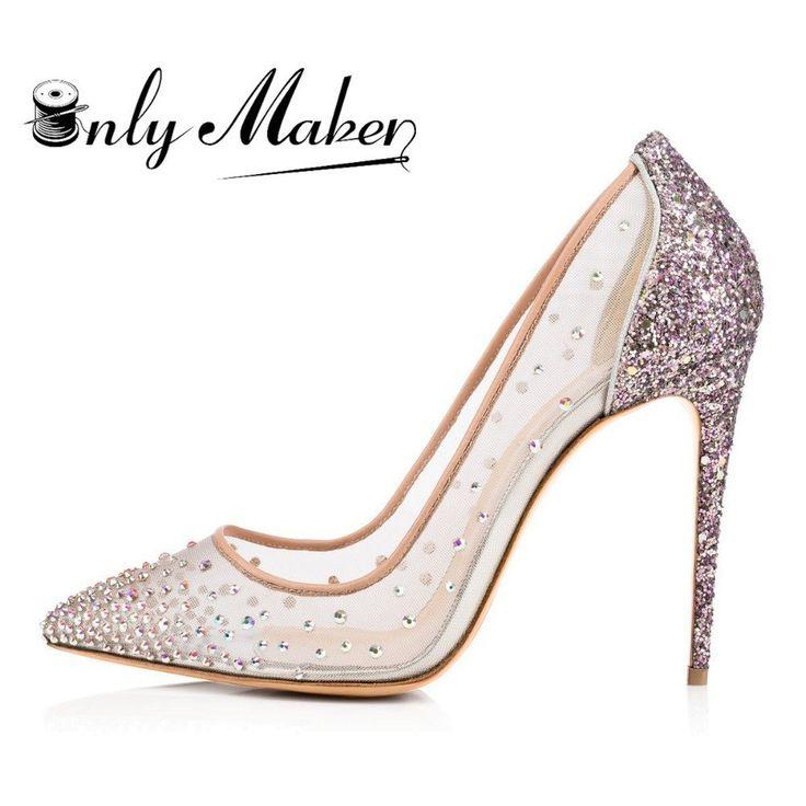 Onlymaker Women's Crystal Rhinestone Handmade Spike Shoes