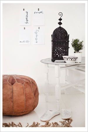 Moroccan leather pouf and l o v e l y white leather slippers <3