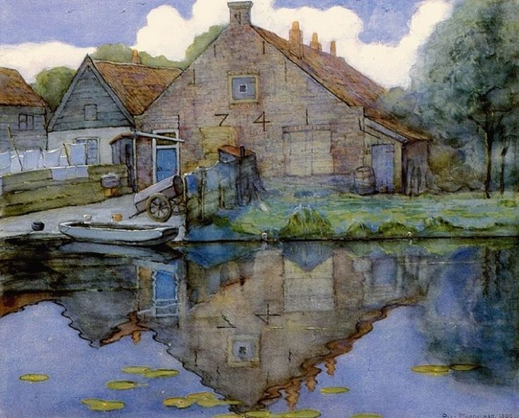 Piet Mondrian (Dutch, 1872-1944) – House on the Gein, 1900 (Watercolor and gouache on paper) – Is a good instance of Mondrian's manner and ideas around 1900, when he was twenty-eight and had just started painting landscapes in the surroundings of Amsterdam… Typical of the early Mondrian is the loose brush stroke, giving the impression of a direct oil sketch of the subject in the open air. This picturesque touch is characteristic of most of Mondrian's work during these years...(Németh György)