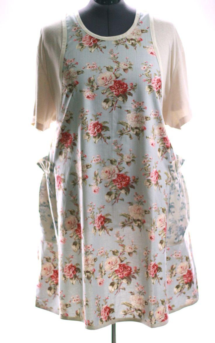 White tudor apron - Plus Size No Tie Apron In Pretty Pale Blue Floral The Vermont Apron Company