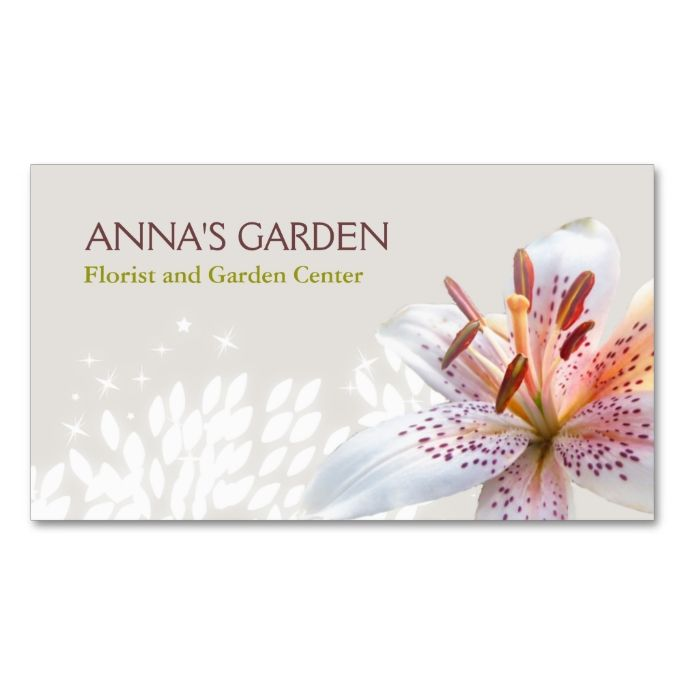 elegant white tiger lily florist and garden shop business card make your own business card with this great design