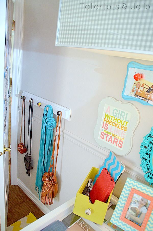 diy accessory display - tween room totally need this for Grace' s purses __ ******also love the freckles sign next to it******