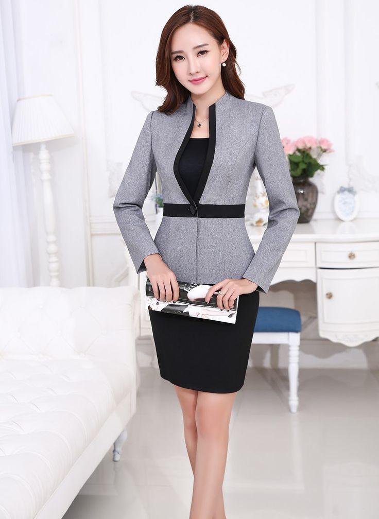 Uniforme de gala estilos profesional trajes de negocios FemaleTops y falda 2015 otoño invierno mujer Blazers establece para mujer oficina S-4XL(China (Mainland))