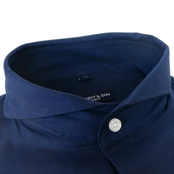 Meet Extreme Cutaway Navy Shirt, with our Extreme Cutaway Collar this shirt is guaranteed to stand out!  With a light weight navy fabric with a nice structure t