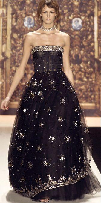 Oscar de la Renta Would be gorgeous with diagonal layers of plain black then the golden detailing.