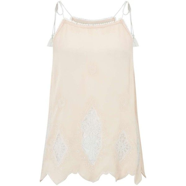 Miss Selfridge Petites Tassel Nude Cami Top ($32) ❤ liked on Polyvore featuring tops, petite, pink, camisole tank, petite camisole, petite tank tops, pink cami and pink top
