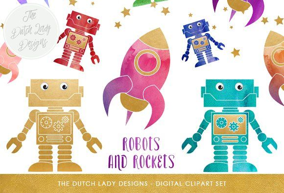 Robot & Rocket Clipart Set by The Dutch Lady Designs on @creativemarket