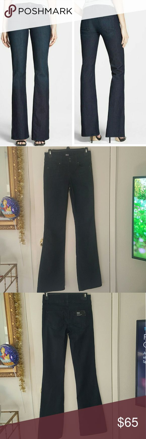 "New Paige ""Hidden Hills"" bootcut jeans size 26 I loveee this jeans!! They are perfect. This jeans have a snug fit and they are stretchy and fit like a glove. The wash is fantastic it's a deep dark indigo wash. Also, they have a wider waistband which makes them extra comfy. Sooo if you want style and comfort these are your jeans. Brand new they don't have the price tag but they still have the tag on the back pocket. Inseam 34"" Rise 8 1/2""  Leg opening 20"" 80% cotton 19% polyester 1% elastane…"