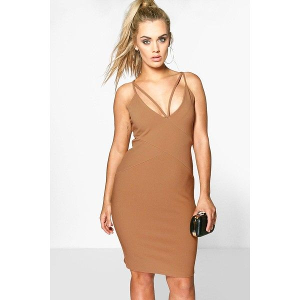 Boohoo Plus Plus Piper Plunge Bandage Midi Dress ($30) ❤ liked on Polyvore featuring dresses, camel, sequin dress, sequin party dresses, beige maxi dress, bandage dress and bodycon midi dress