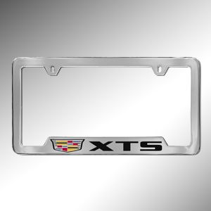 XTS License Plate Frame, Cadillac Crest with XTS:A distinctive look is all in the details, and this Cadillac License Plate Holder fits the frame. Cadillac owners can this License Plate Holders that utilize a computerized laser-graphic precision engraving process. Sharp, crisp lettering and logos ensure clear visibility and an elegant appearance. These Plate Holders are tested extensively with Cass 32 Salt Spray, Adhesion Test ASTM D3359, car wash certifications and more.
