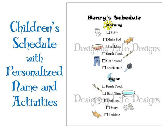 Kids Schedule - Personalized Printable Daily Activities for Children