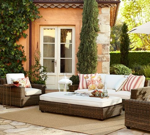 Torrey All-Weather Wicker Square Sofa | Pottery Barn