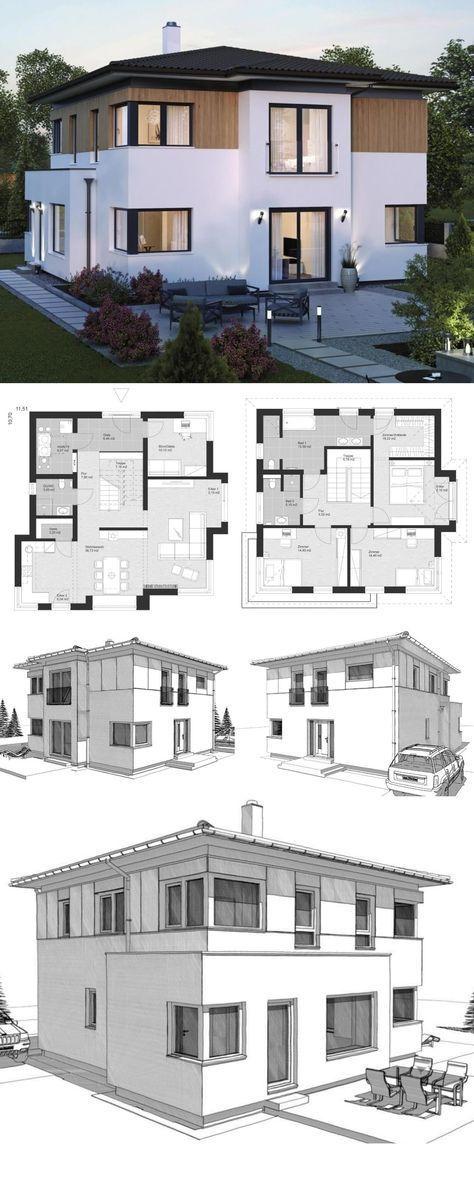 Moderne Landhaus Stadtvilla Grundriss mit Walmdach…