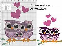 Owls family free cross stitch pattern
