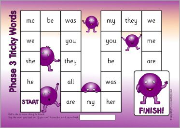 Phases 2-5 tricky words board games (SB6979) - SparkleBox