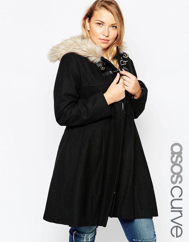 Faux Fur Hooded Duffle Coat