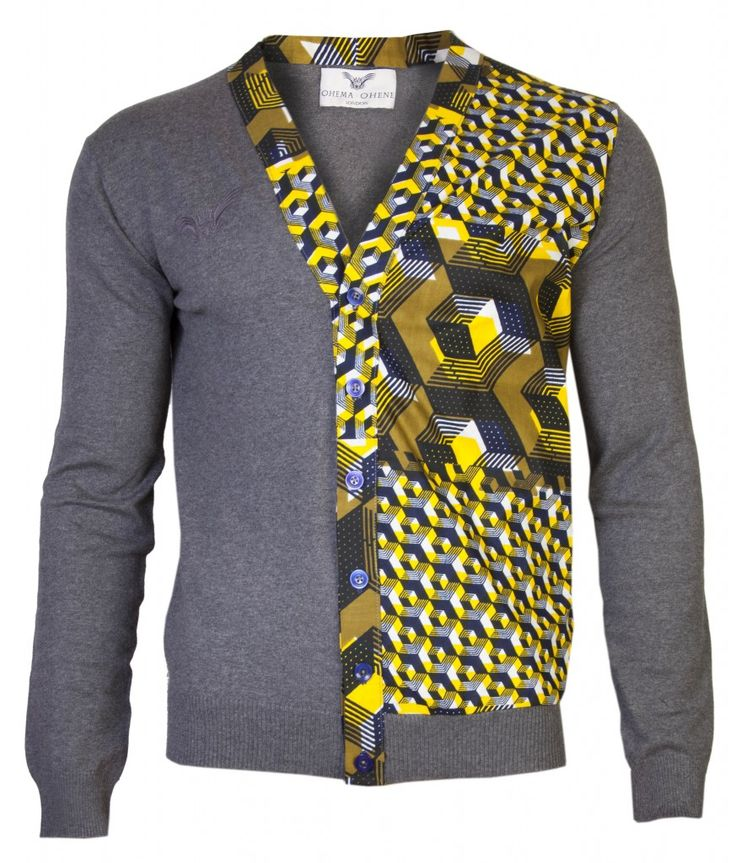 MEN'S BLACK KNITTED CARDIGAN WITH AFRICAN PRINT INSERT - OHEMA OHENE - African Inspired Fashion With A British Twist