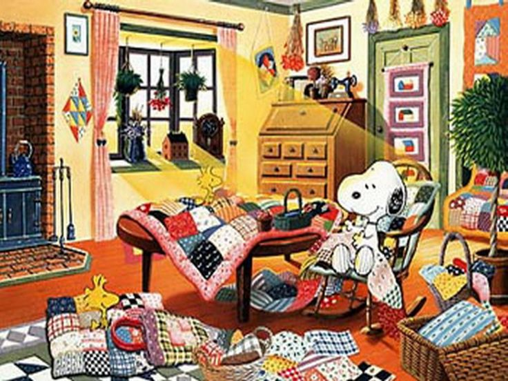 Image result for snoopy quilting with woodstock