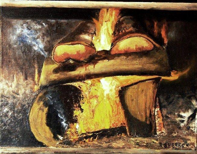 """""""arde fuego en mi chimenea""""..... òleo sobre tela"""