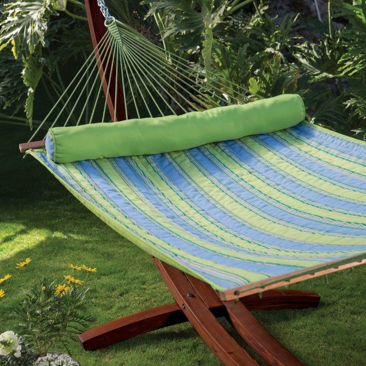 Island Bay Parrot Stripe Dura-Weave Quilted Double Hammock with 15 ft. Russian Pine Wood Arc Hammock Stand - DP159-1