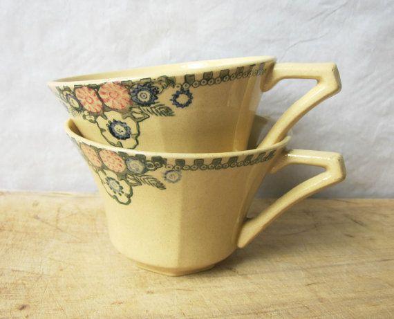 2 vintage francés tazas grandes, 1930, taza de la taza, Chocolate, Café au lait, antiguo, cocina rústica, casa de campo